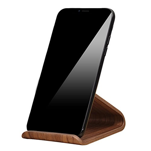 Cell Phone Stand,SAMDI iPhone Wood Dock:Cradle,Holder For Switch all Android Smartphone,iPhone 6 6s 7 8 X Plus 5 5s 5c Accessories Desk-Black Walnut (Walnut Desk Plastic)