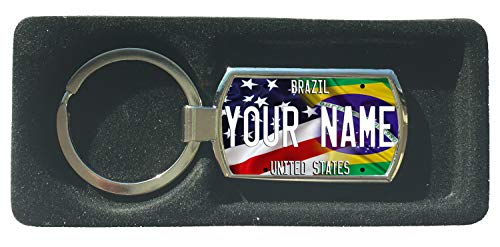 (BRGIftShip Customize Your Own Mixed USA and Brazil Flag Metal Keychain)