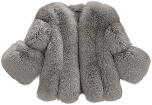 35a0f78986a Dreamyth Women Faux Fur Coat Fashion Solid Fur Short Stitching Jackets  (Gray