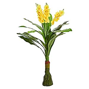 Decorative Green Artificial Plant with Yellow Flower