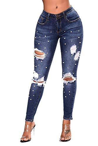 2xl Scuro Plus Femmine Blu Delle Pantaloni Buco Ricamati Signore Jeans 3xl baibao Bl Z Size Con qAn5P4xT