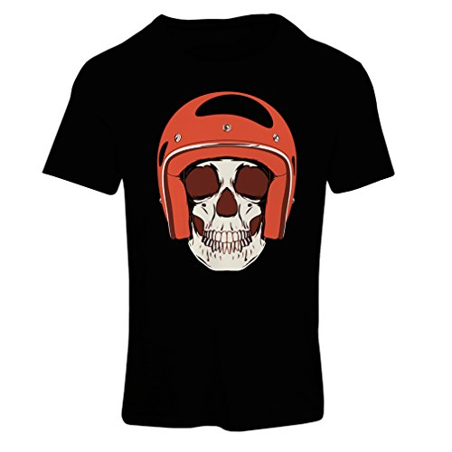 lepni.me T Shirts For Women Moto Skull With Cap Helmet- Motorcycle Clothing, Motorbike Apparel, Riding Gear (Small Black Multi Color)