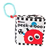 Sassy Peek-A-Boo Activity Book | Developmental Book for Babies with High Contrast and Crinkle Pages | Attachable Link for On-The-Go Travel | for Ages Newborn and Up