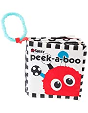 assy Peek-A-Boo Activity Book | Developmental Book for Babies with High Contrast and Crinkle Pages | for Ages Newborn and Up