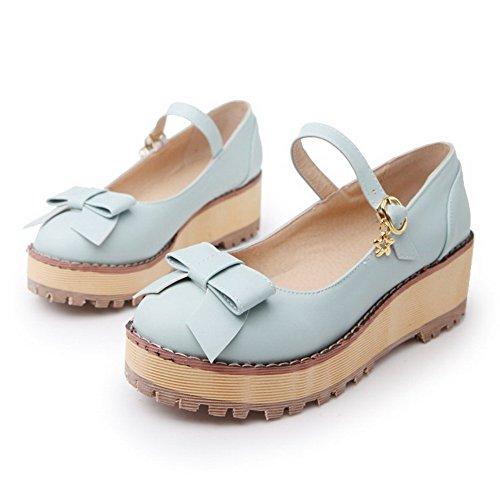 AgooLar Damen Rund Zehe Mittler Absatz Weiches Material Rein Schnalle Pumps Schuhe Himmelblau
