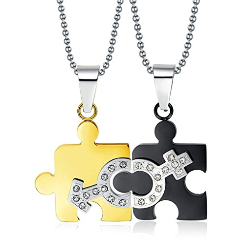 Aooaz Couple Stainless Steel Pendant Necklace For Men Women Jigsaw Puzzle Gold Black Wedding Promise