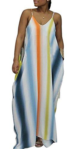 Voghtic Womens Sexy V Neckline Spaghetti Strap Long Maxi Dress Low Back Loose Beach ()