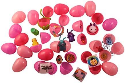 [해외]24 Pink Girls Toy-filled Easter EggsCostume Jewelry Stickers Erasers Bubbles Finger Puppets Pom Bunnies and More for Easter Egg Hunts / 24 Pink Girls Toy-filled Easter EggsCostume Jewelry, Stickers, Erasers, Bubbles, Finger Puppets...