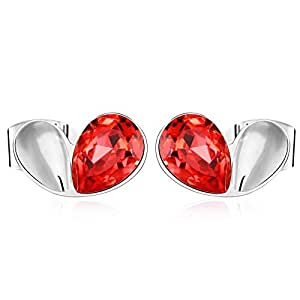 ZMC Women's Rhodium Plated Alloy Swarovski Crystals Stud Earrings, Silver/Red