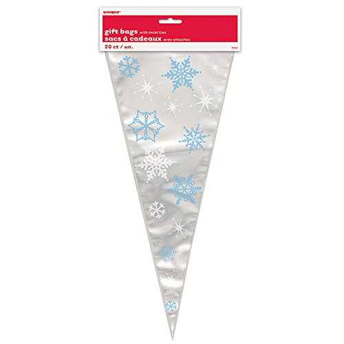 Snowflake Holiday Cone Cellophane Bags, 20ct