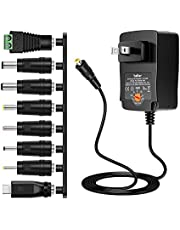 Belker 36W Universal 3V 4.5V 5V 6V 7.5V 9V 12V AC DC Adapter Power Supply for LCD LED Light Strip Router Speaker Smart Phone Tablet Kindle and Echo Dot TV Box 0.5A 1A 1.5A 2A 2.5A 3A 3000mA Amp Max.