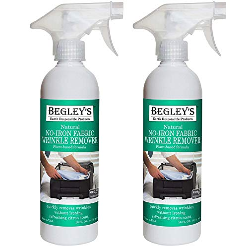 Begley's Best Earth Responsible Natural No-Iron Fabric Wrinkle Release, Static Cling Remover, Plant-Based Formula, Refreshing Citrus Scent - USDA Certified Biobased Product, 16 oz, 2-Pack (Iron Spray For Clothes)