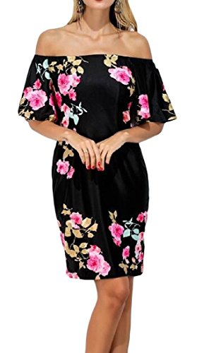 Long Shoulder Comfy Straight Mid Printing Black Women Off Dresses 4TEX6