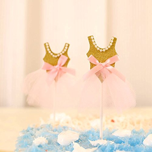 Sopeace Pink Gold Ballerina Tutus Cake Topper for Girls Princess Birthday Decorations Pack of 10 ()