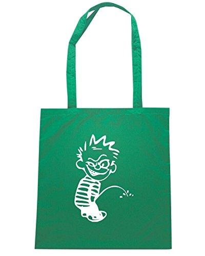 T-Shirtshock - Bolsa para la compra FUN1089 crazy calvin peeon decal 21471 Verde