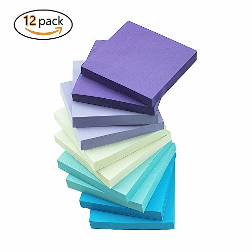 ZZTX Watercolor Self-Stick Notes 5 color Sticky Notes 12 Pads/Pack 100 Sheets/Pad 3 inch X 3 inch Easy (Purple Post)