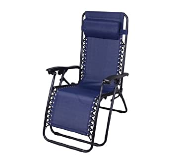 Outsunny Zero Gravity Recliner Lounge Patio Pool Chair, Blue