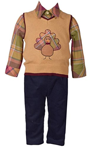 3 Piece Sweater Vest Pants - Bonnie Jean 3 Piece Sweater Vest with Thanksgiving Turkey Applique Shirt and Pants Set 3T