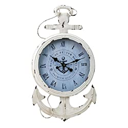 Cape Craftsmen Anchored Vintage White Metal Wall Clock