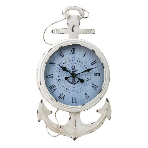 Cape Craftsmen Anchored Vintage White Metal Wall (Anchor Clock)
