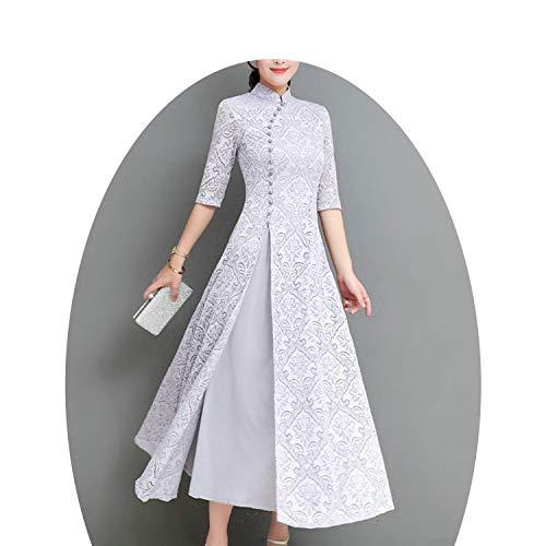 わかりやすい第五提唱する夏の女性エレガントなレトロな中国の伝統的なドレスシルク綿女性の女性結婚式カジュアルデザイン,2,XL