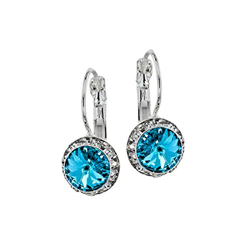 Euro Wire Earrings Styles By JS Swarovski Crystals Rondelle Birthstone Earrings (03 - Aquamarine Blue - March) - Wire Euro