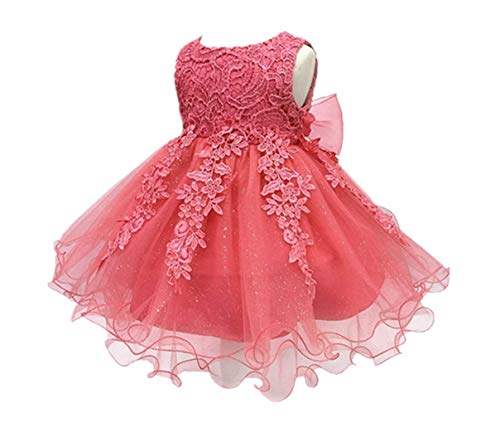 HX H.X Baby Girl's Lace Gauze Christening Baptism Wedding Dress With Petticoat (18M/Fit 13-18 Months, Watermelon Red)