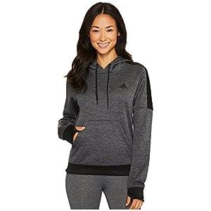 adidas Women's Team Issue Fleece Pullover Hoodie, Dark Grey Melange/Black Melange/Black, Medium