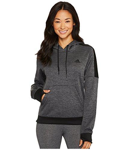 adidas Women's Team Issue Fleece Pullover Hoodie, Dark Grey Melange/Black Melange/Black, Large