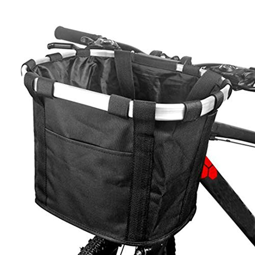 Bike Front Basket, Folding and Removable Small Pet Cat Dog Carrier Quick Release Easy Install Detachable Cycling Bag Mountain Picnic Shopping (36x26X24cm),Black