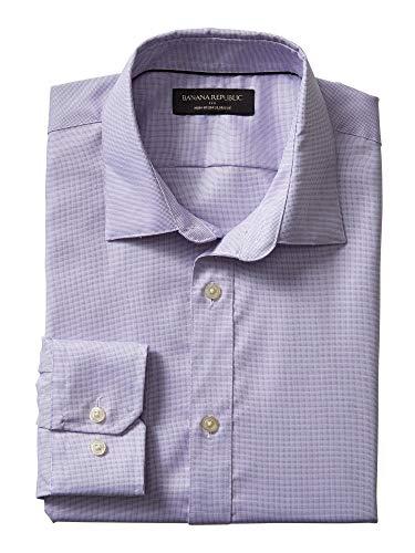 - Banana Reublic Mens Slim-Fit Non-Iron Purple Shirt (L)