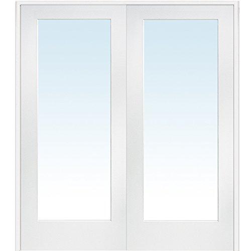 National Door Company Z009301BA Primed MDF 1 Lite Clear Glass, Prehung Interior Double Door, 60'' x 80'' by National Door Company