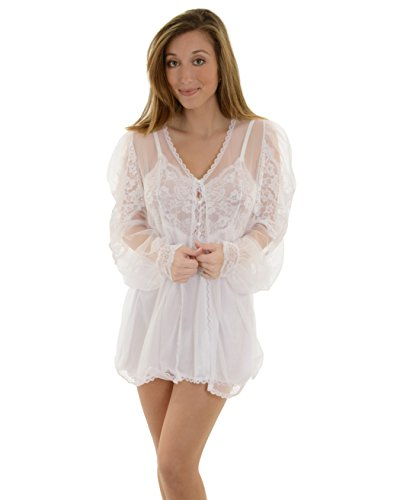 ce Peignoir, Babydoll, & G-String color:WHITE size:S (Baby Doll Peignoir)