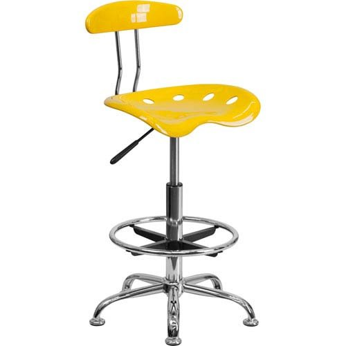 Parkside Vibrant Orange-Yellow and Chrome Drafting Stool with Tractor Seat