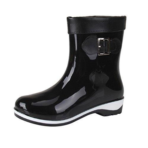 YoungSoul Bottines de pluie femme - Bottes en caoutchouc fourrées mi mollet - Chaussure imperméables bottes de jardin Noir kWmHku