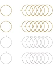 PH PandaHall 100 pcs 2 Colors 25mm(1 Inch) Brass Round Hoop Earrings Wire Hoops Wine Glass Charm Rings Beading Hoop for DIY Craft Making Party Favors, Golden/Silver