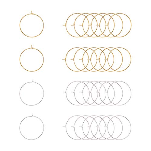 PandaHall Elite 100 pcs 2 Colors 25mm Brass Round Hoop Earrings Wire Hoops Wine Glass Charm Rings Beading Hoop for DIY Craft Making Party Favors, Golden/Silver ()