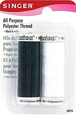 Singer All Purpose Black and White 100-Percent Polyester Thread, 1 Black and 1 White Spool by Dyno Merchandise