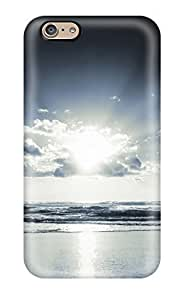 LKIJUYG Cute High Quality Iphone 6 Sun Clouds Dark Waves Beach Digital Case