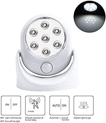 Detector de movimiento inalámbrico LED de luz, de 360 grados giran Sensor de movimiento de faros Blanca Portal de luz de esquinas de noche lámpara para ...
