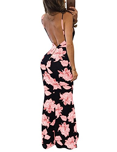 Fleuri Profond Imprime Dos Robe Longue Pink Bodycon de Robe Col Soire V Baymate Manches Nu sans 8tqFw