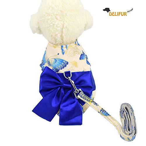Delifur Dog Japenese Kimono Costume Pet Sakura Dress Halloween Costume (L, Blue) -