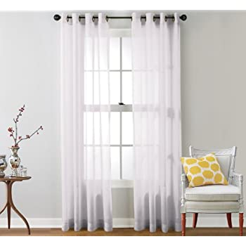 ME 2 Piece Sheer Voile Window Curtain Drape Grommet Panels For Bedroom,  Living