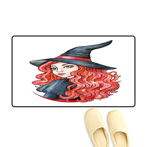 Bath Mats for Floors Beautiful Young Girl Witch Halloween Costume Watercolor Illustration
