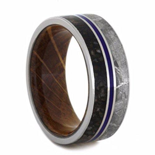 Dinosaur Bone, Gibeon Meteorite, Blue Stripe, Whiskey Barrel Wood 9mm Comfort-Fit Titanium Wedding Band, Size 7.5 by The Men's Jewelry Store (Unisex Jewelry)