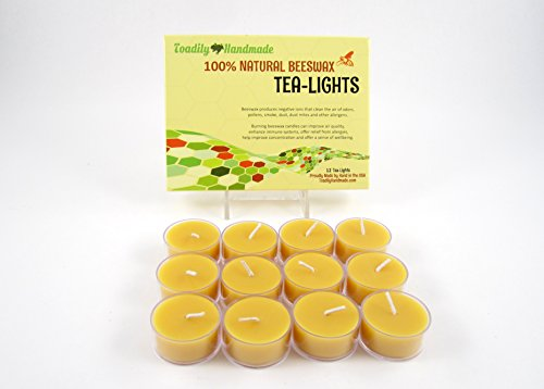 12 Hand Poured Beeswax Tea-Light Candles in NATURAL – Plastic Cups  Chemical Free Cotton Wicks – 100% Beeswax Candles by Toadily Handmade Beeswax Can…