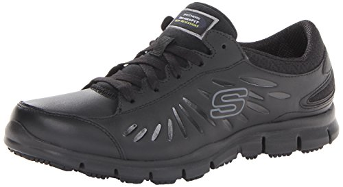Skechers for Work Women's Eldred Work Shoe, Black, 7.5 M - Smooth Clog Black