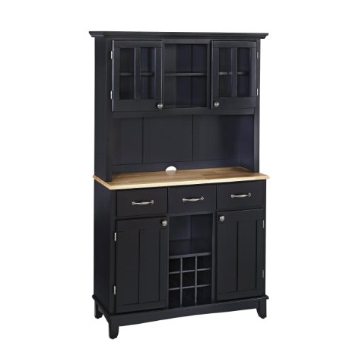 Home Styles Buffet of Buffets Natural Wood Top Buffet with Hutch, Black Finish, (Kitchen Natural Wood Hutch)