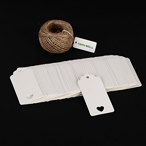 Tenn Well Kraft Paper Tags Thank You Gift Tags Wedding Favor Tags Bonbonniere Tags Price Tags Includes Bonus 100 Feet Natural Jute Twine String (100Piece,White)