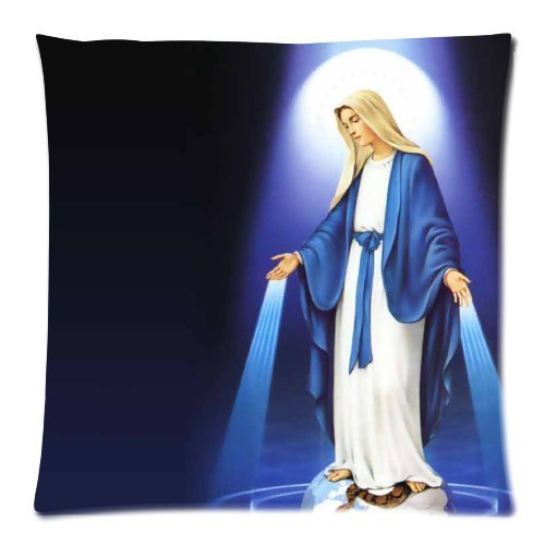 Rdkekxoel Virgin Mary Cushion Case - Square Pillowcase Cushion Case Throw Pillow Cover with Invisible Zipper Closure - 18x18 inches, One-Sided Print ()
